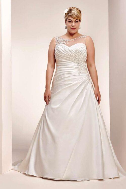 Brudekjole 5659WU er en virkelig smuk plus size brudekjole fra Unique Kjoler.