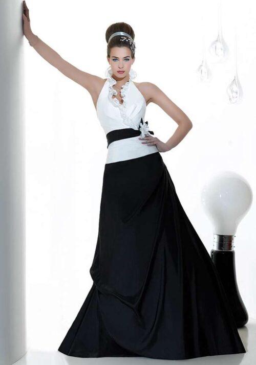 Skile dig ud i en sort/hvid brudekjole model jfy125-04 fra Unique Kjoler.